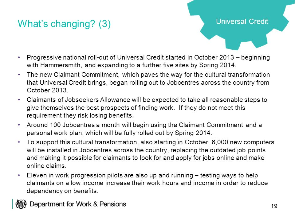What's changing (3) Universal Credit
