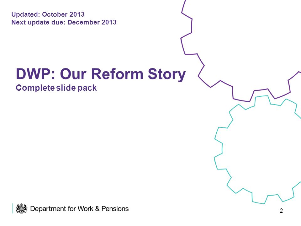 DWP: Our Reform Story Complete slide pack