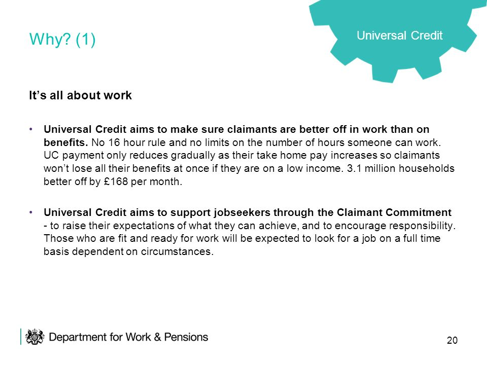 Why (1) Universal Credit It's all about work