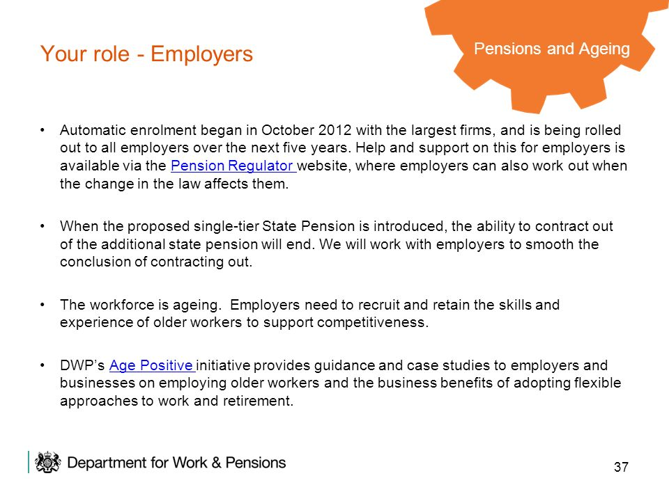 Your role - Employers Pensions and Ageing