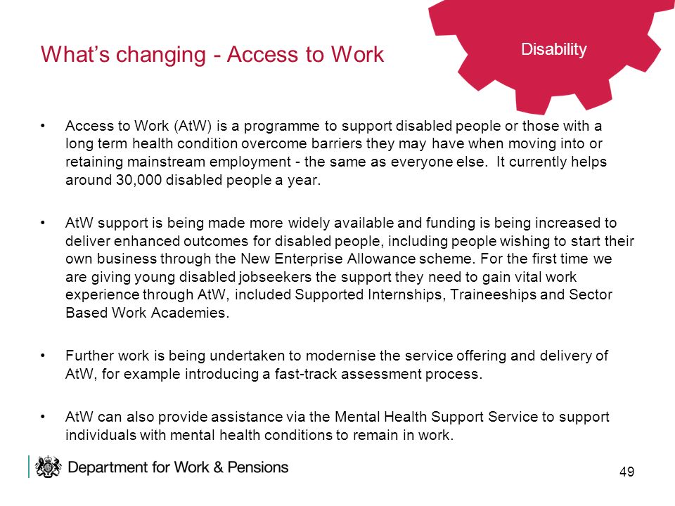 What's changing - Access to Work