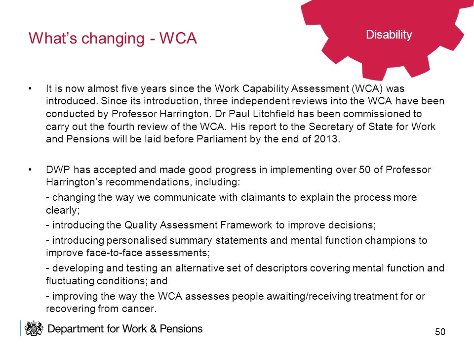 What's changing - WCA Disability