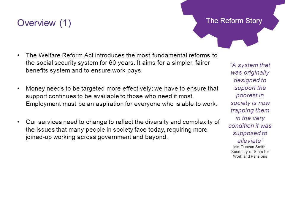 Overview (1) The Reform Story
