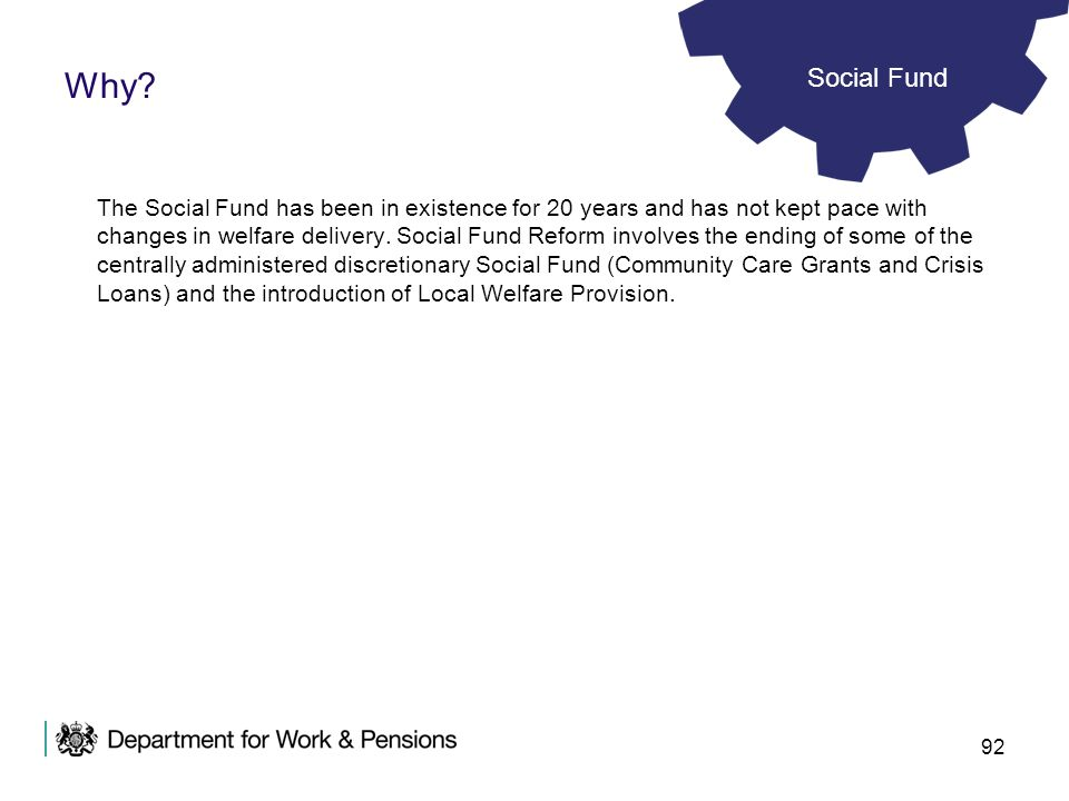 Why Social Fund.