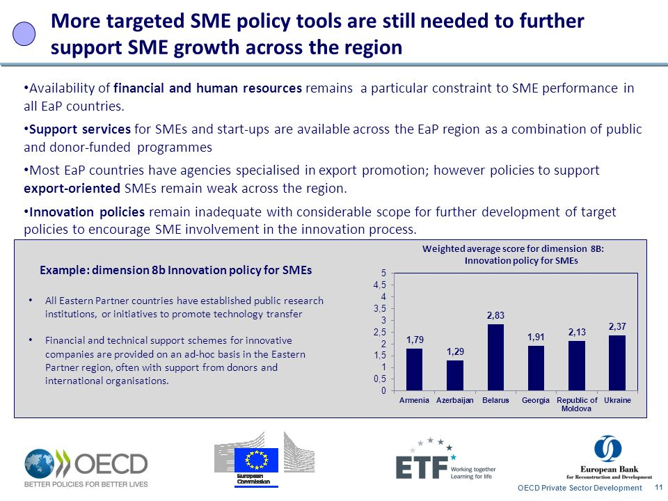 More targeted SME policy tools are still needed to further support SME growth across the region