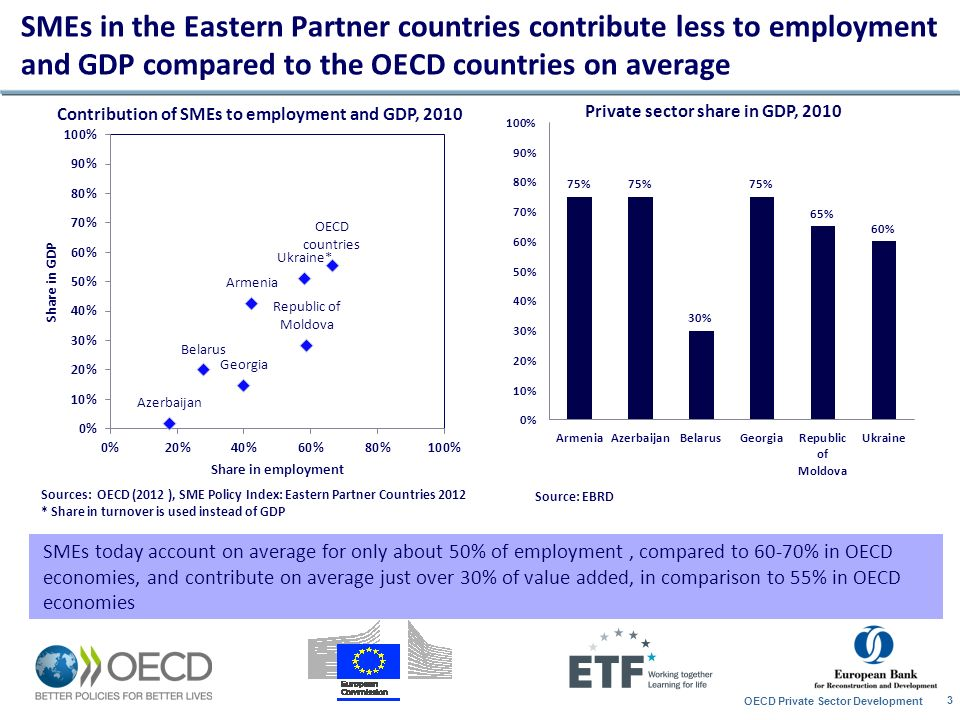 SMEs in the Eastern Partner countries contribute less to employment and GDP compared to the OECD countries on average