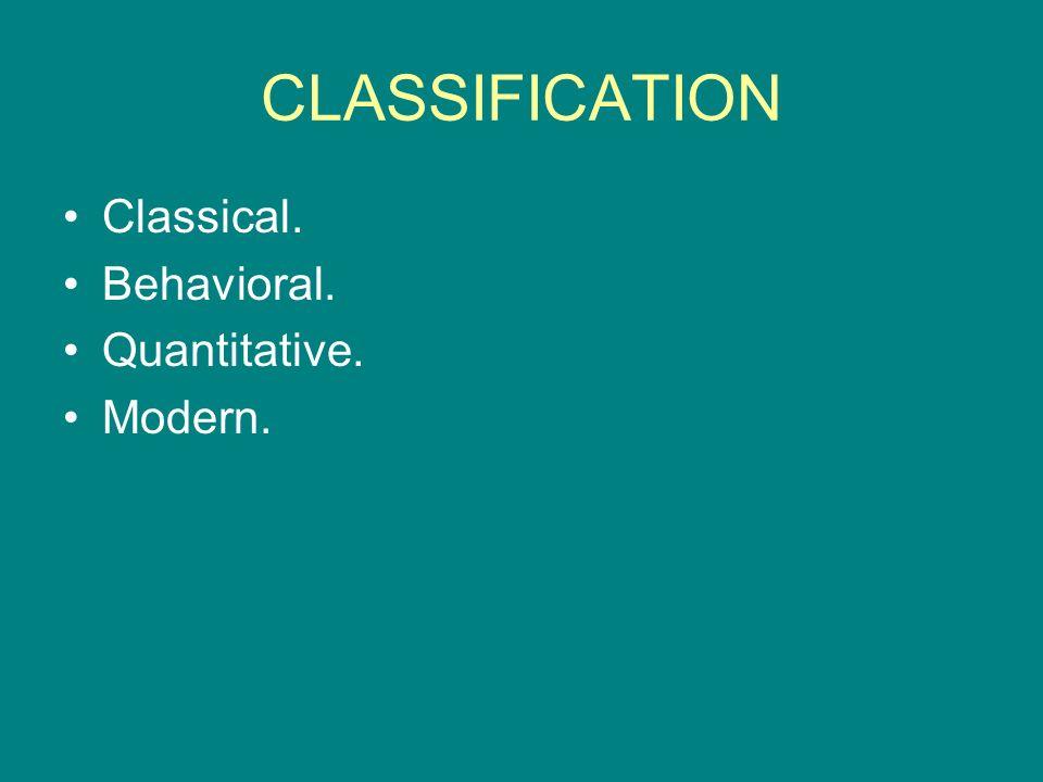 CLASSIFICATION Classical. Behavioral. Quantitative. Modern.