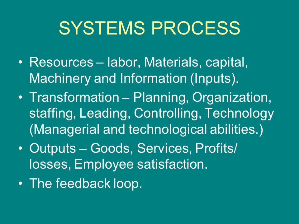 SYSTEMS PROCESS Resources – labor, Materials, capital, Machinery and Information (Inputs).