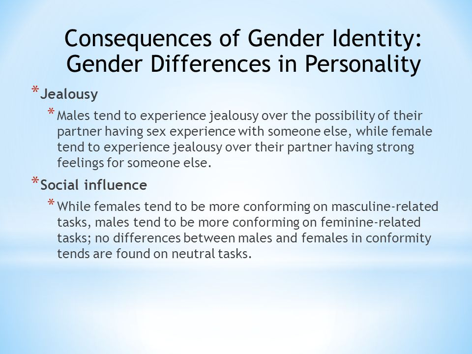 personality differences in gender And gender differences in personality seem to persist into the twilight years  another study looked at average differences in personality.