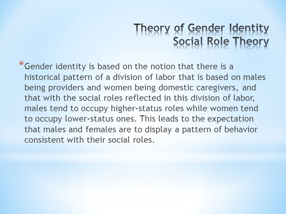 Theory of Gender Identity Social Role Theory