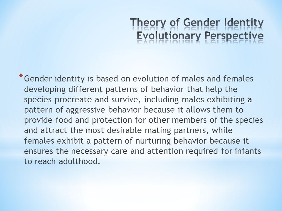 Theory of Gender Identity Evolutionary Perspective