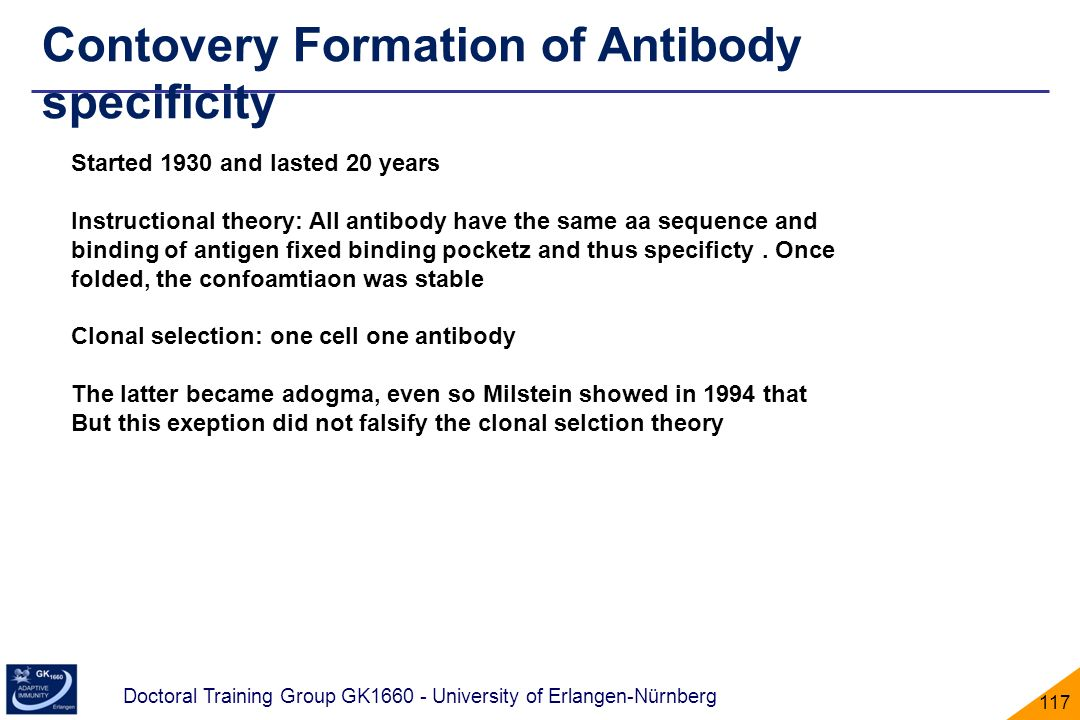 Contovery Formation of Antibody specificity