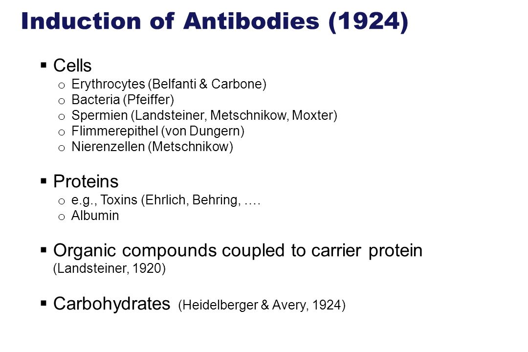 Induction of Antibodies (1924)