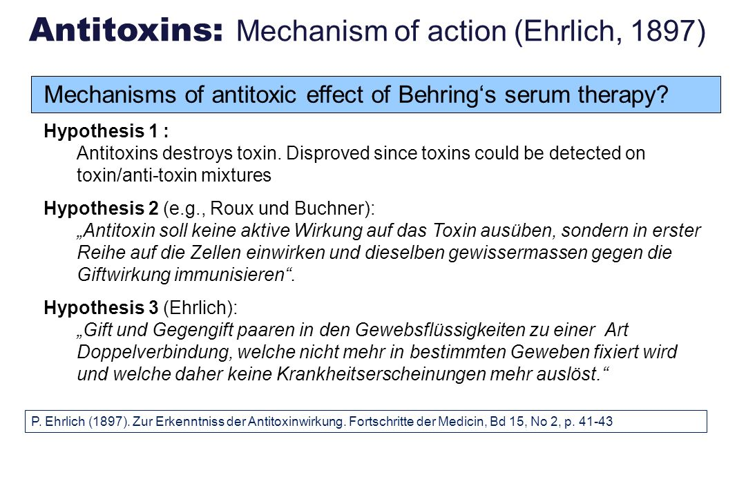 Antitoxins: Mechanism of action (Ehrlich, 1897)