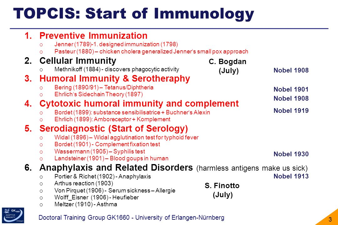 TOPCIS: Start of Immunology
