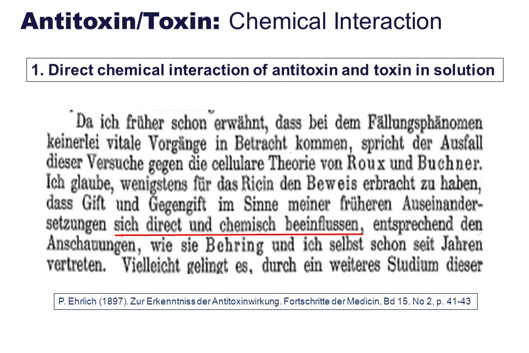 Antitoxin/Toxin: Chemical Interaction