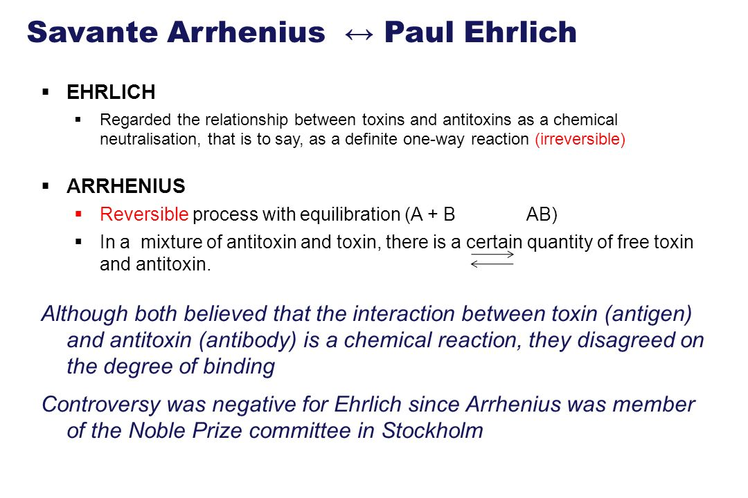 Savante Arrhenius ↔ Paul Ehrlich