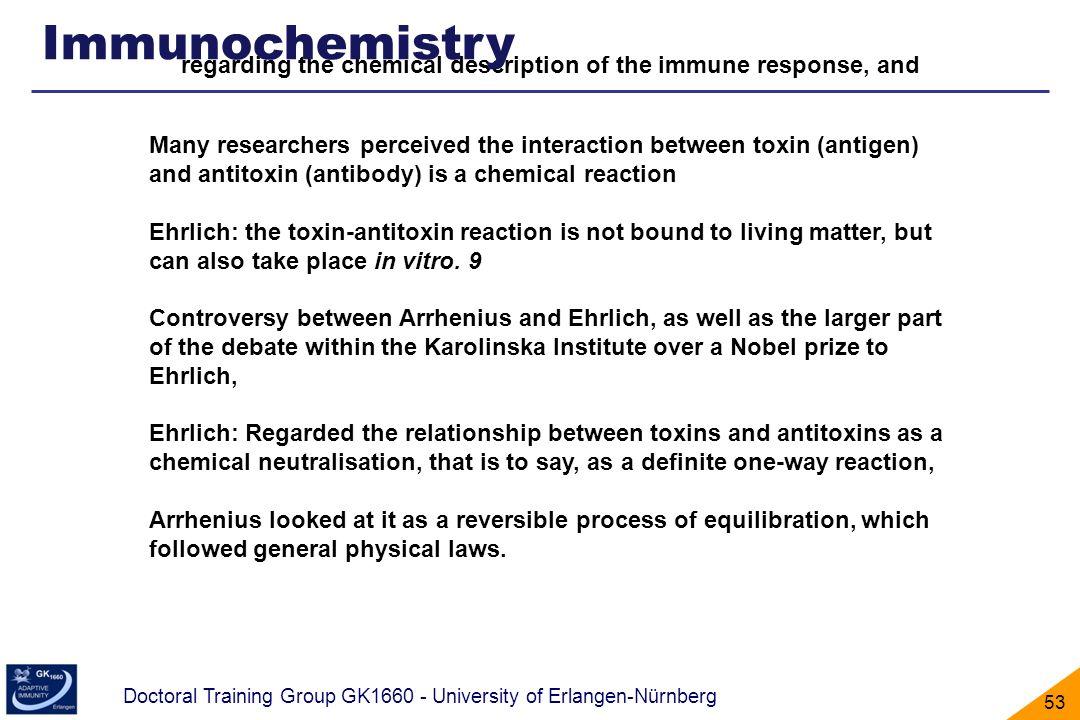 Immunochemistry regarding the chemical description of the immune response, and.