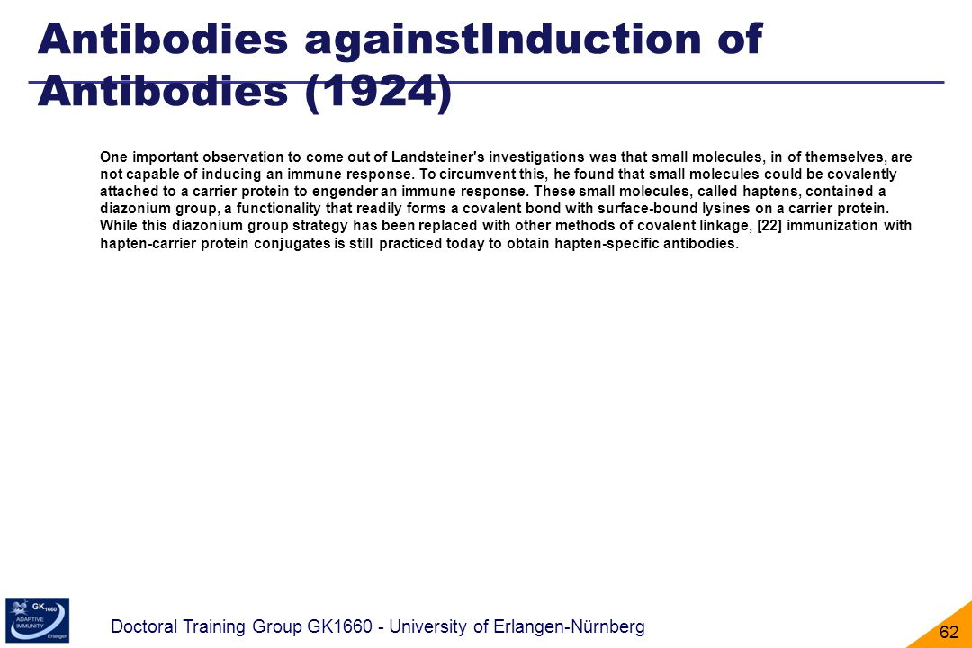 Antibodies againstInduction of Antibodies (1924)