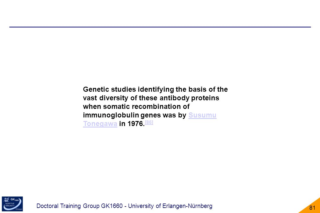 Genetic studies identifying the basis of the vast diversity of these antibody proteins when somatic recombination of immunoglobulin genes was by Susumu Tonegawa in 1976.[86]