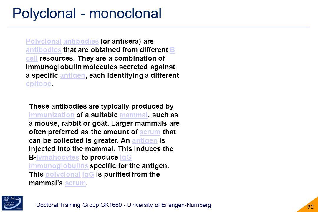Polyclonal - monoclonal