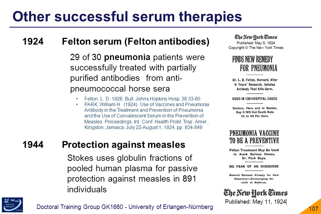 Other successful serum therapies
