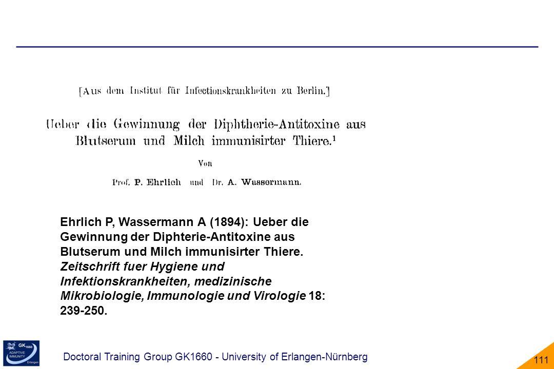 Ehrlich P, Wassermann A (1894): Ueber die Gewinnung der Diphterie-Antitoxine aus Blutserum und Milch immunisirter Thiere.