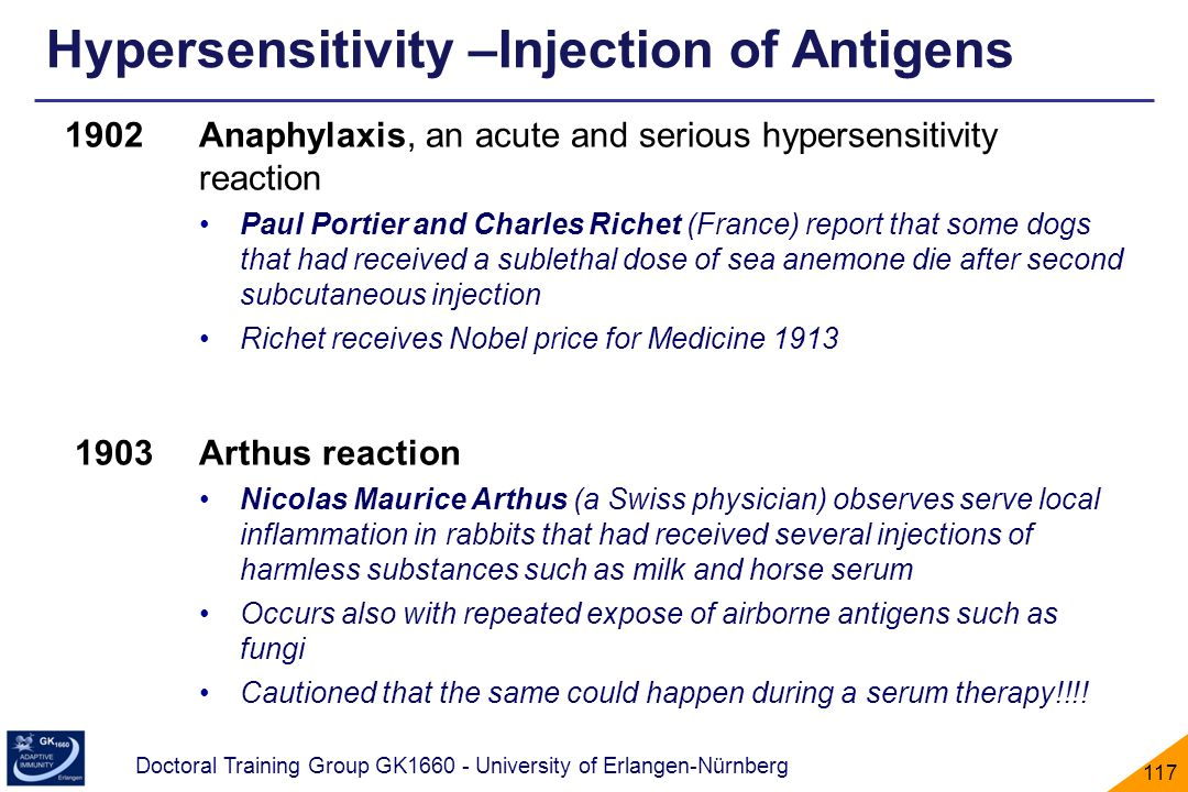 Hypersensitivity –Injection of Antigens