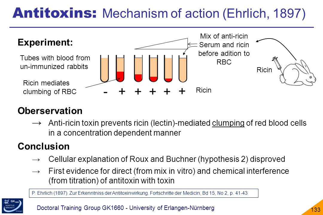 Serum and ricin before adition to RBC