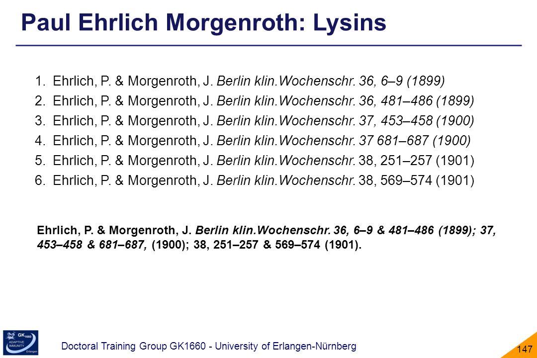 Paul Ehrlich Morgenroth: Lysins
