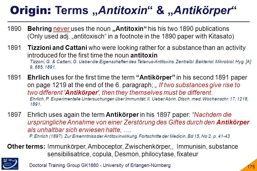 "Origin: Terms ""Antitoxin & ""Antikörper"