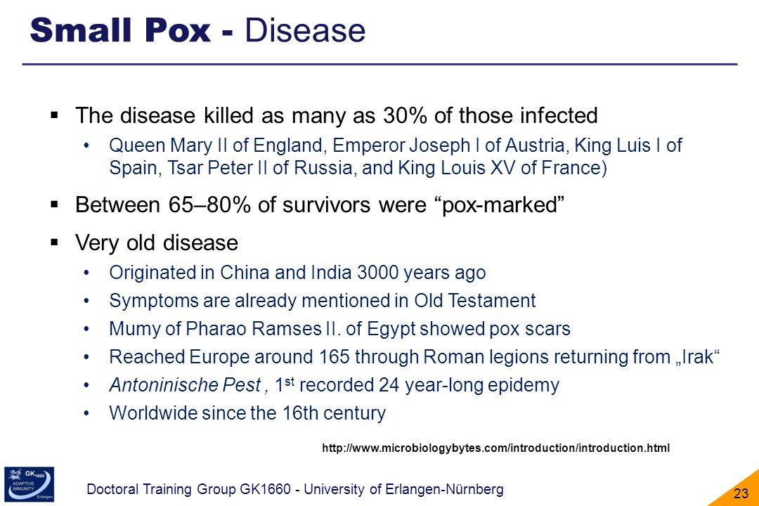 Small Pox - Disease The disease killed as many as 30% of those infected.