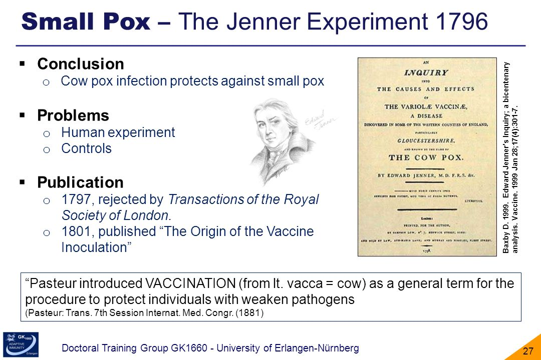 Small Pox – The Jenner Experiment 1796