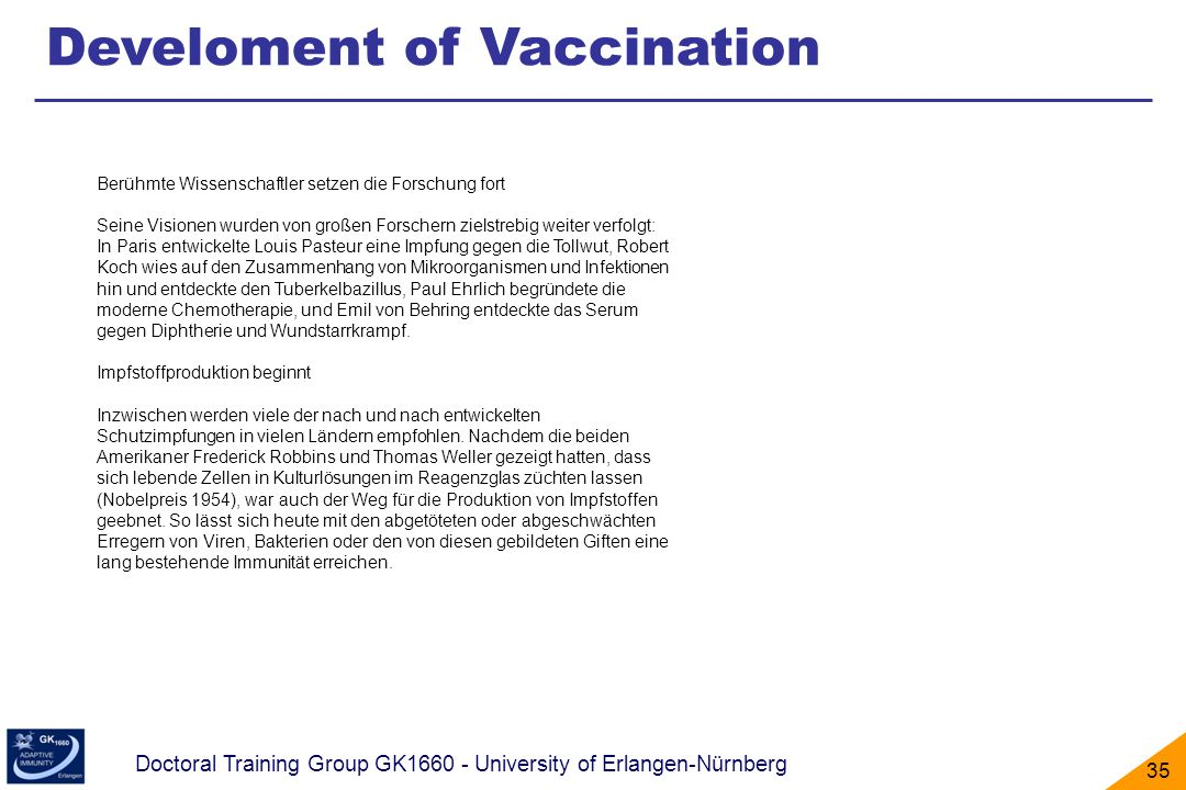 Develoment of Vaccination