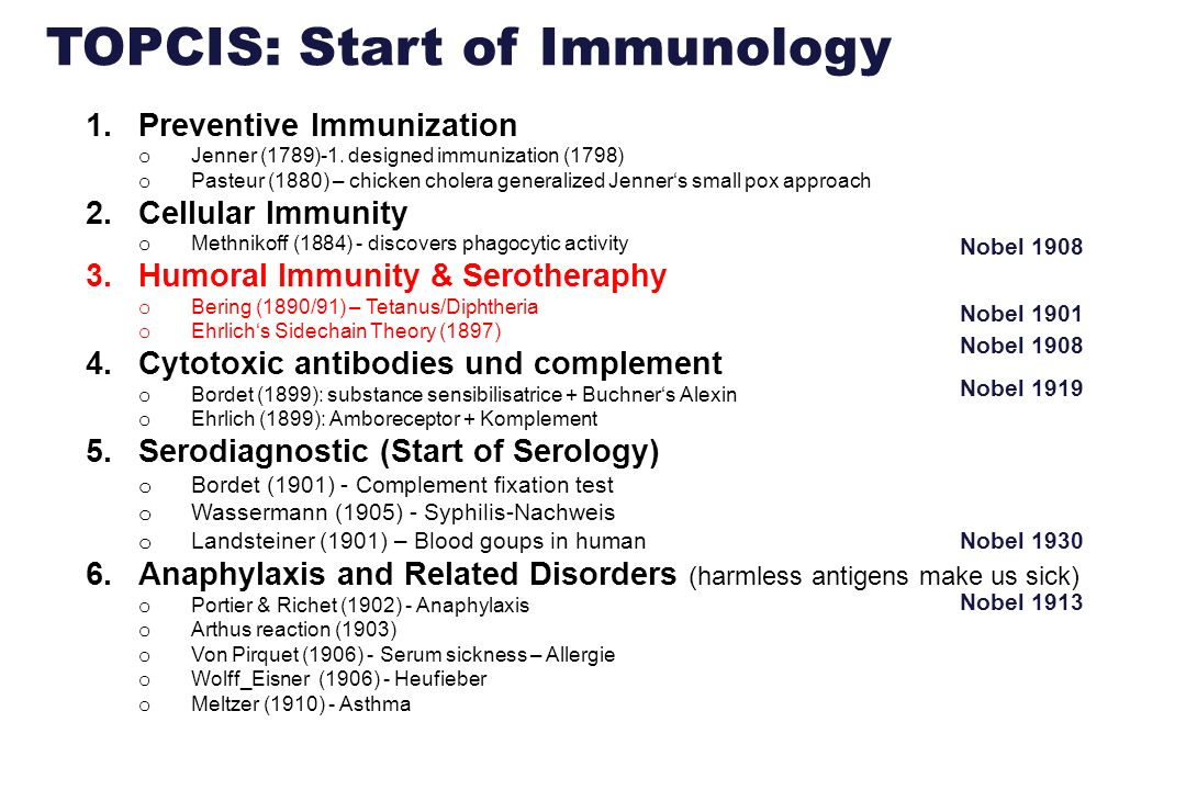 TOPCIS: Start of Immunology