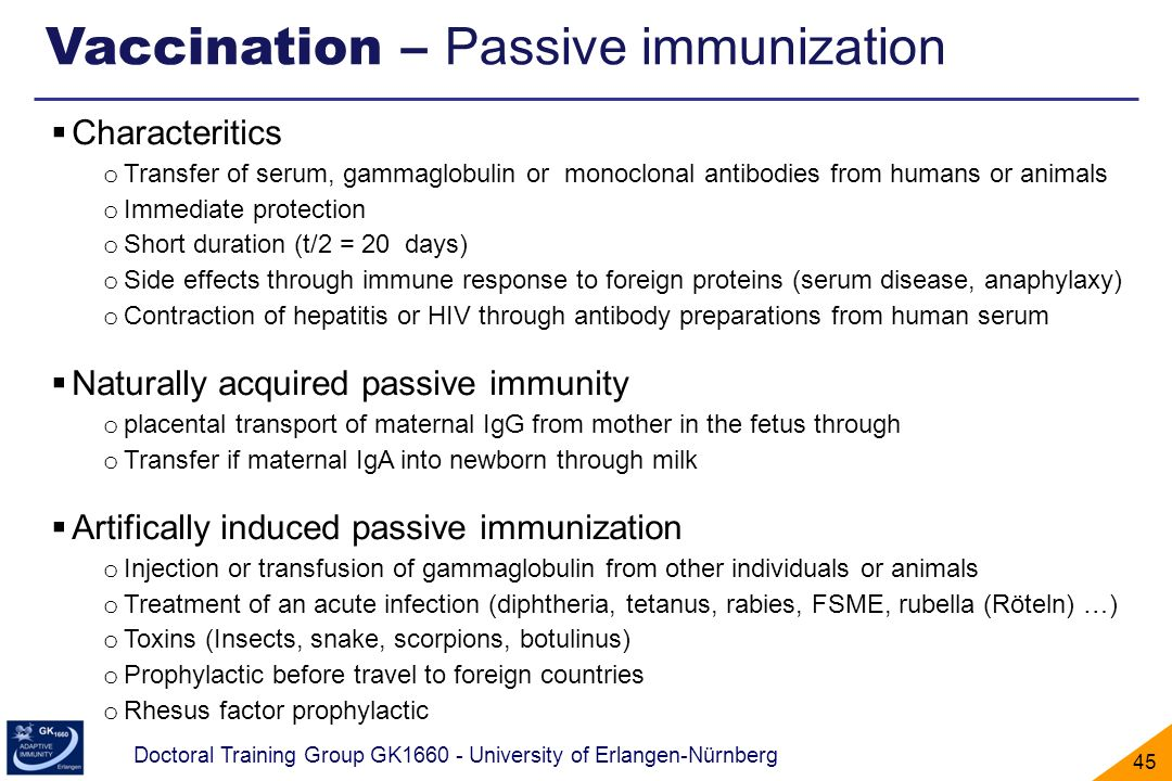 Vaccination – Passive immunization