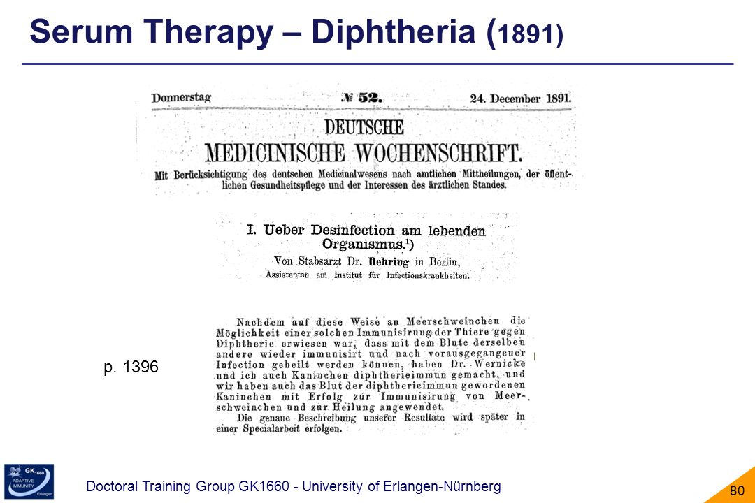Serum Therapy – Diphtheria (1891)
