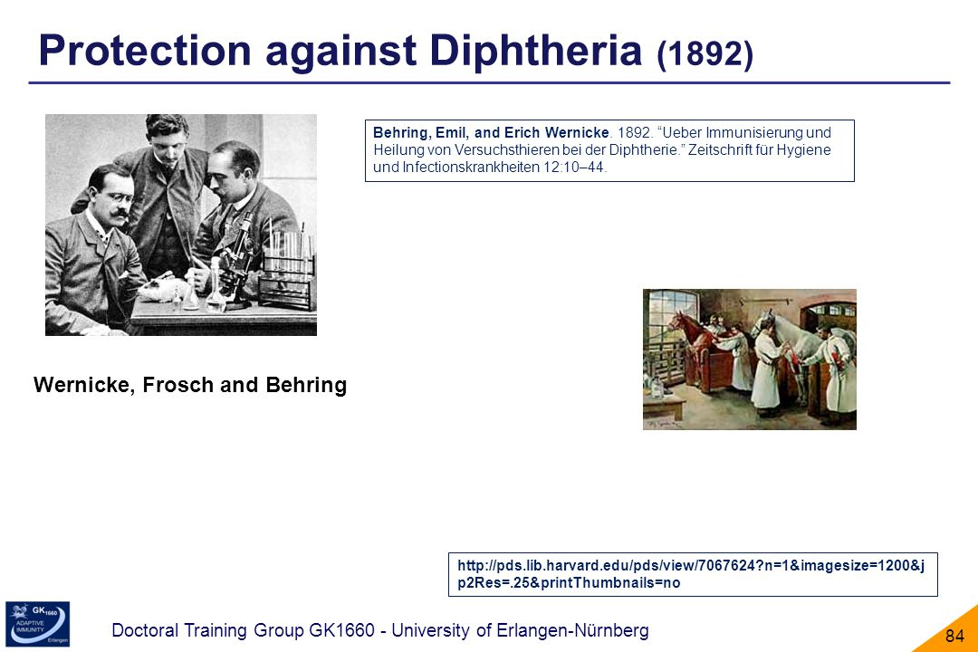 Protection against Diphtheria (1892)