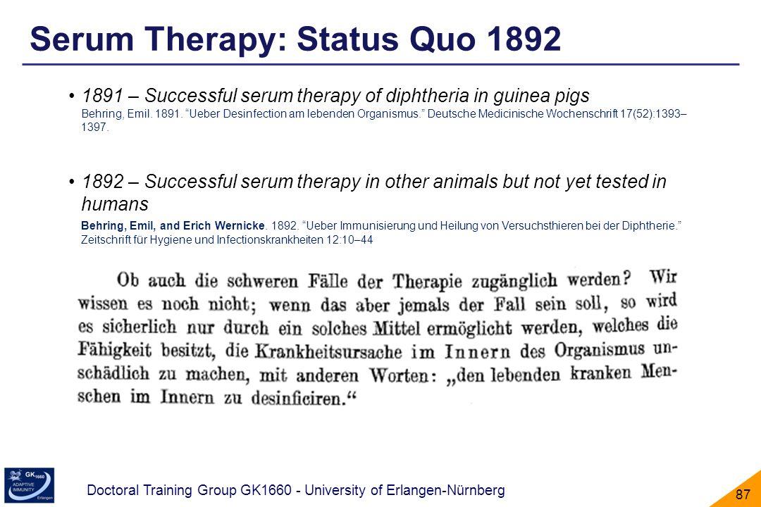 Serum Therapy: Status Quo 1892
