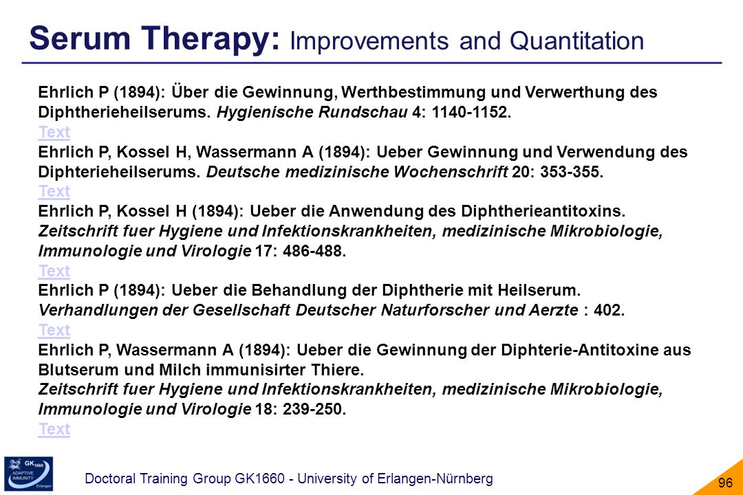 Serum Therapy: Improvements and Quantitation