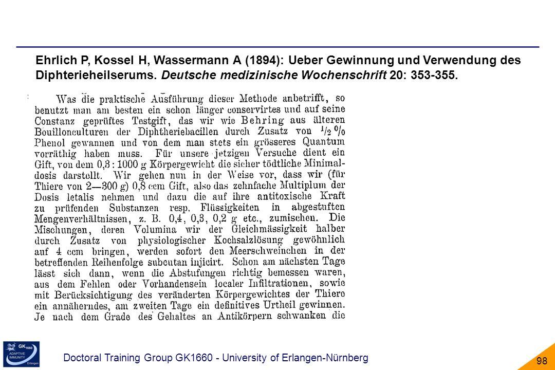 Ehrlich P, Kossel H, Wassermann A (1894): Ueber Gewinnung und Verwendung des Diphterieheilserums.
