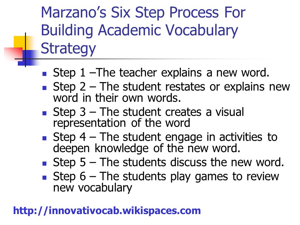 Marzano's Six Step Process For Building Academic Vocabulary Strategy