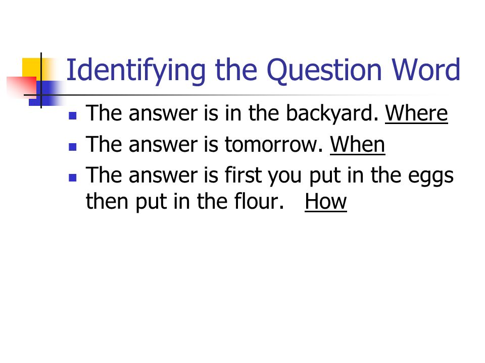 Identifying the Question Word