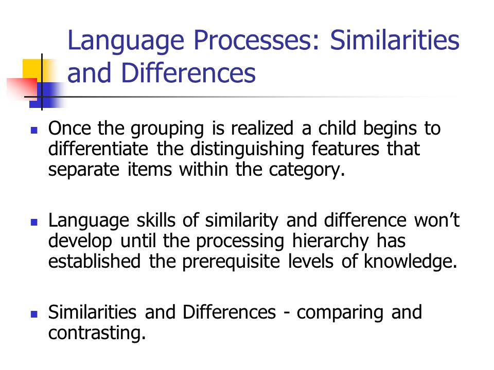 Language Processes: Similarities and Differences