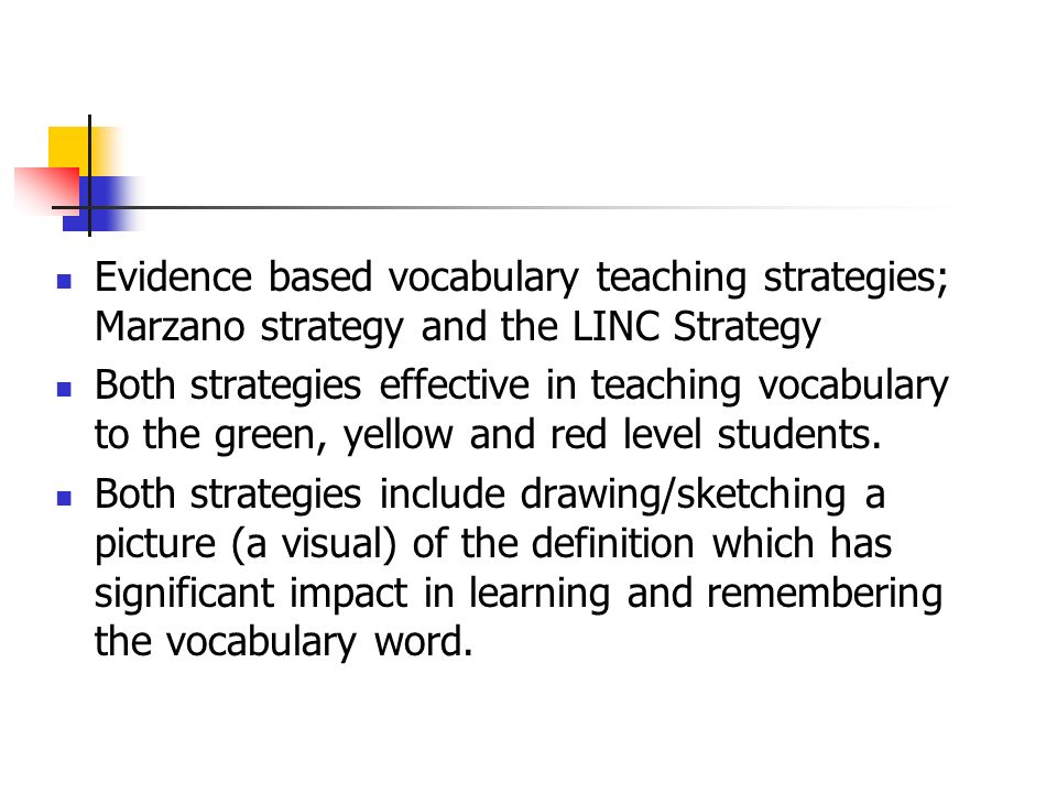 Evidence based vocabulary teaching strategies; Marzano strategy and the LINC Strategy
