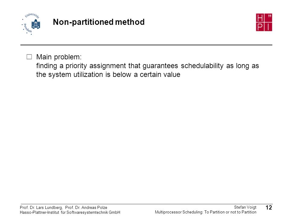 Non-partitioned method