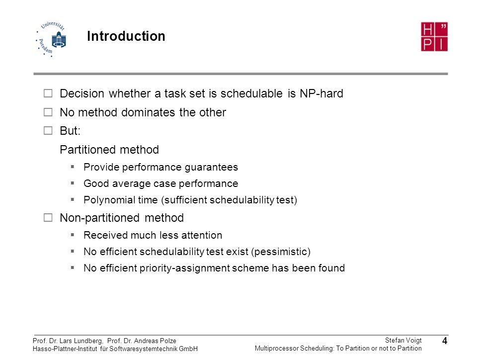 Introduction Decision whether a task set is schedulable is NP-hard