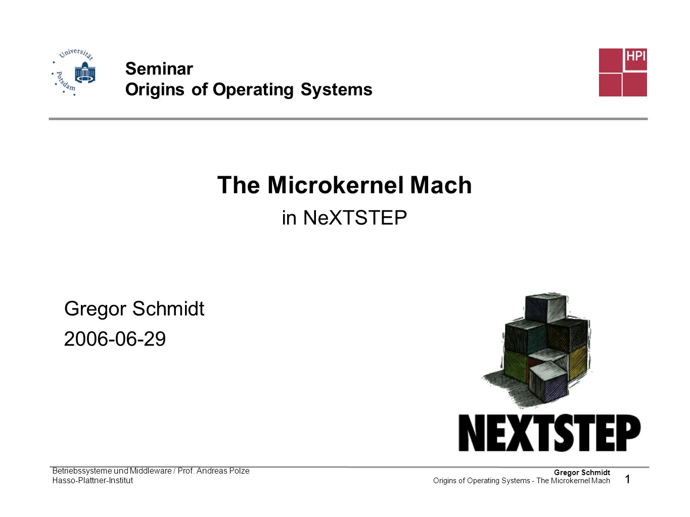 Seminar Origins of Operating Systems