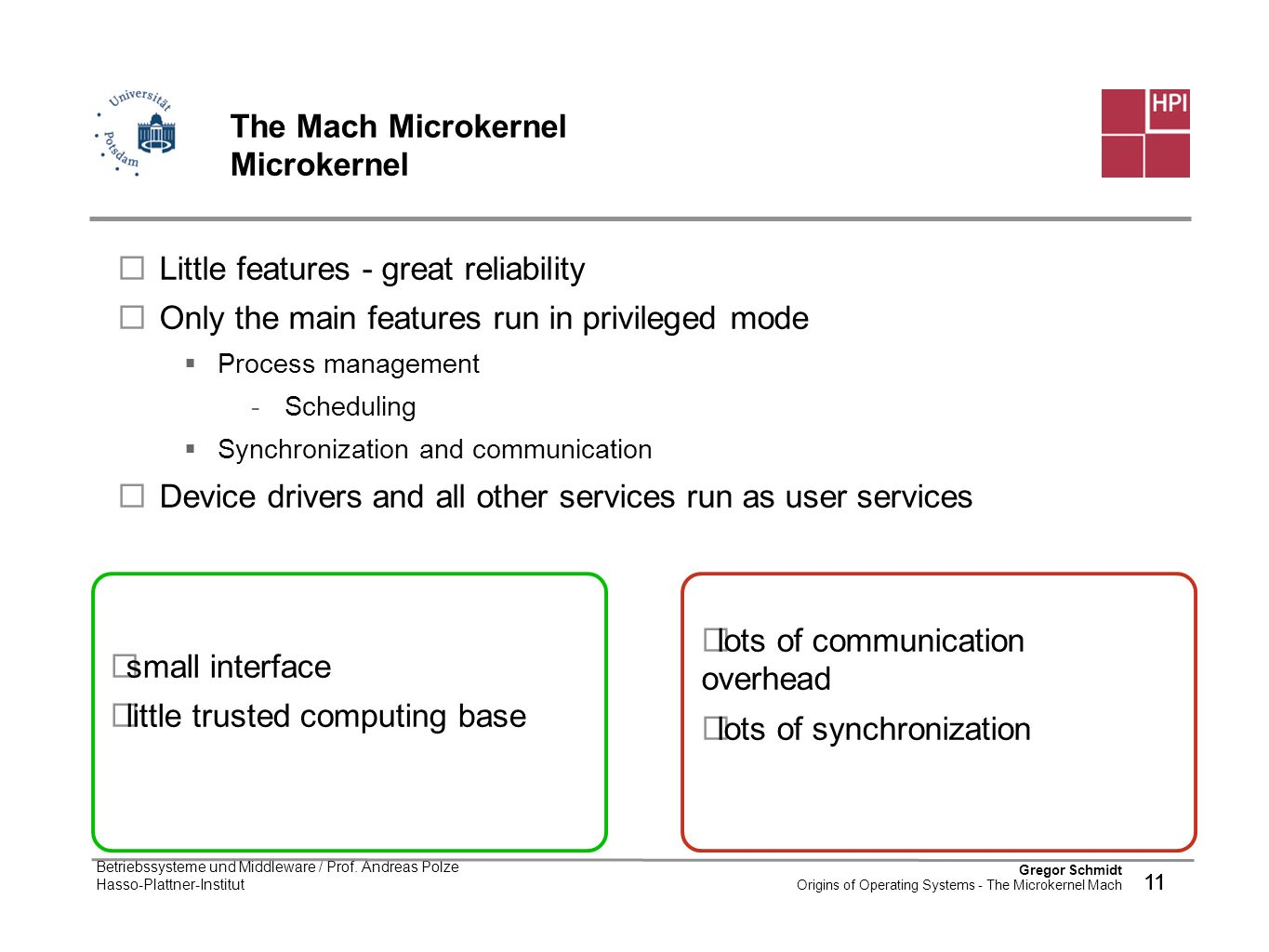 The Mach Microkernel Microkernel