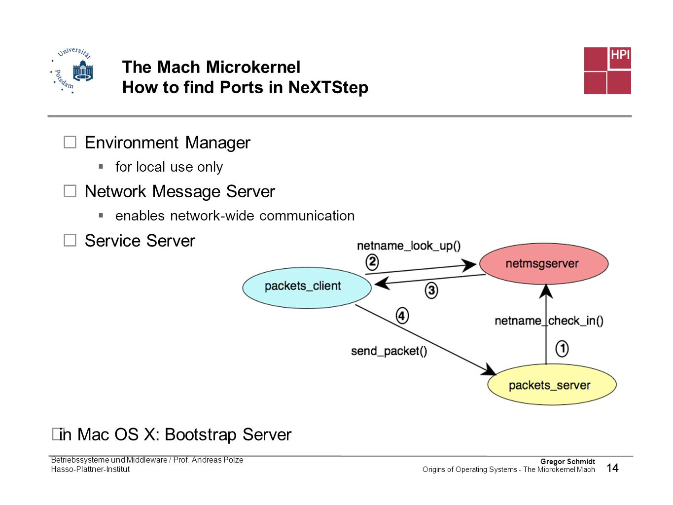 The Mach Microkernel How to find Ports in NeXTStep